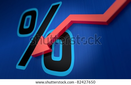 Percentage symbol with an arrow down - stock photo