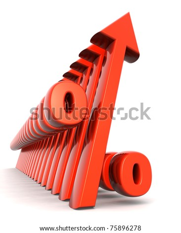 Percentage with arrow pointing up financial growth concept - stock photo