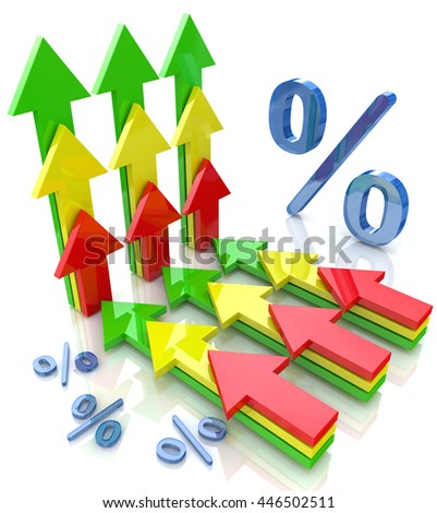 Percentage with arrows pointing up financial growth concept in the design of the information related to the economy. 3d illustration