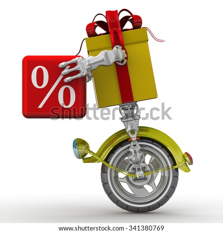 Percentages as a gift. Self-propelled gift box in the form of a robot holding a red cube with percent symbol on a white surface. The three-dimensional illustration - stock photo