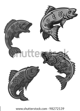 Perch, carp and bass fish isolated on white background for fishing mascot and emblem design. Vector version also available in gallery - stock photo