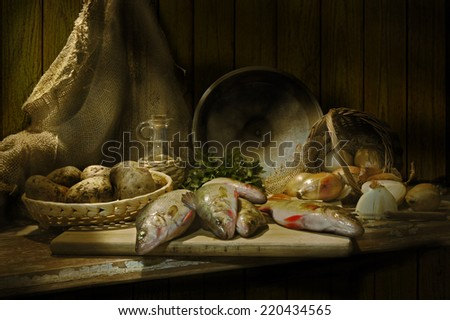 Perches for the soup - stock photo