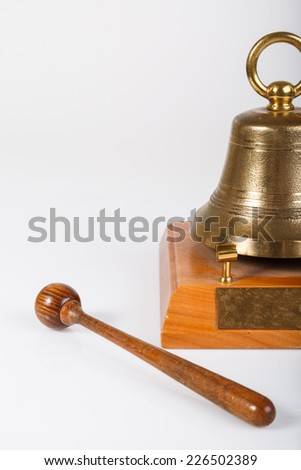 Percussion and table bell with copy space. Detail of bell. front view.  - stock photo