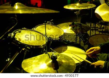 percussion instruments on scene - stock photo