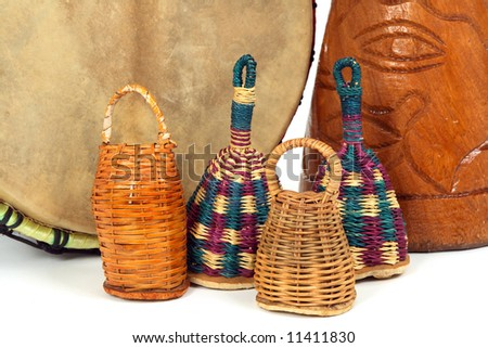 Percussion music instruments. Caxixi shakers  and African djembe drums.