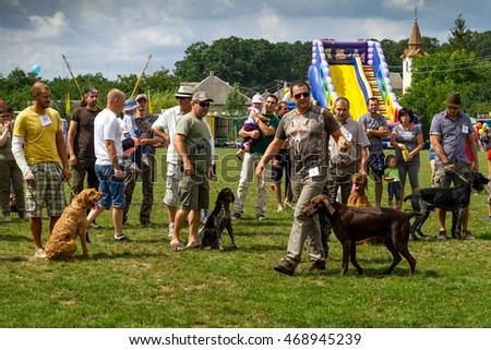 Perekhrest, Ukraine - August 14. 2016:  Participants prepare for the show of hunting dogs during the first festival of hunters.