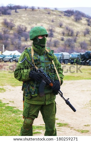 PEREVALNE, UKRAINE - MARCH 4: Russian soldier on March 4, 2014 in Perevalne, Crimea, Ukraine. On February 28, 2014 Russian military forces invaded Crimea peninsula.