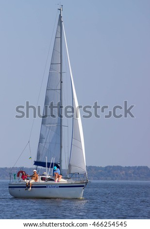 PEREYASLAV, UKRAINE- AUGUST 6, 2016: Boat in sailing regatta. Cup of Pereyaslav 2016