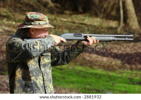 Perfect aim with a shotgun - stock photo