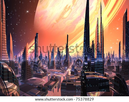 Perfect Alien City with Ring Planet - stock photo