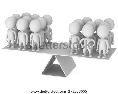 Perfect balance between two business team.  3d render with humans isolated on white.