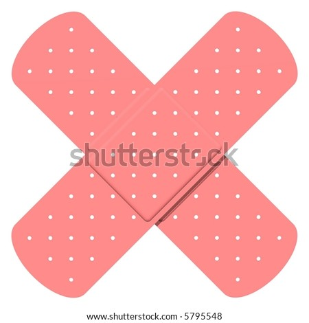 Perfect band aids  isolated on white - stock photo