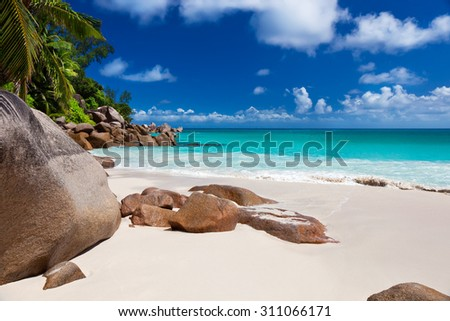 Perfect beach Anse Georgette at Praslin island, Seychelles  - stock photo
