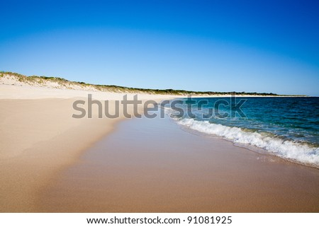 Perfect Beach, Four Mile Beach in Western Australia. Southern Ocean. Space for Copy. - stock photo