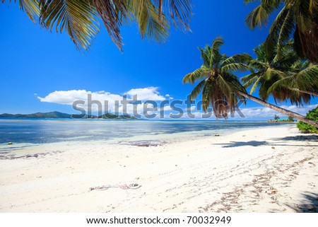 Perfect beach in Seychelles with white sand, turquoise waters, palm trees and blue sky - stock photo