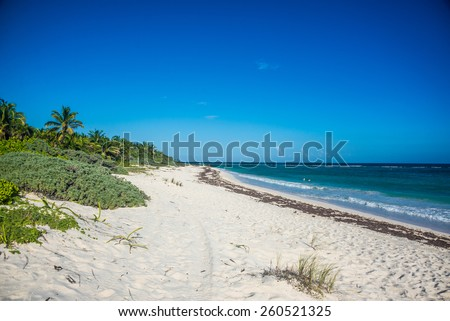 Perfect beach near Tulum, traveling through Quintana Roo. Caribbean paradise. - stock photo