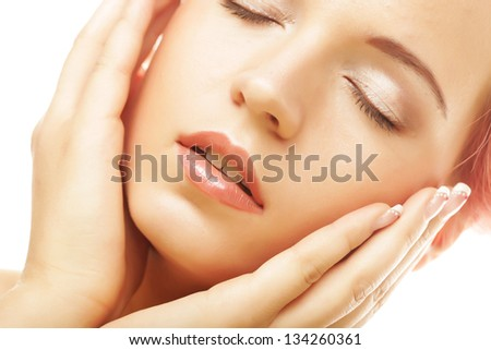 Perfect beautiful woman relaxing with close eyes - stock photo