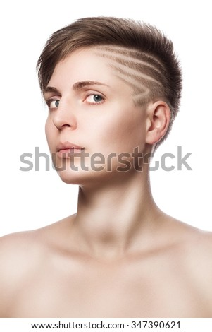perfect beautiful young woman with modern short hair - isolated - stock photo