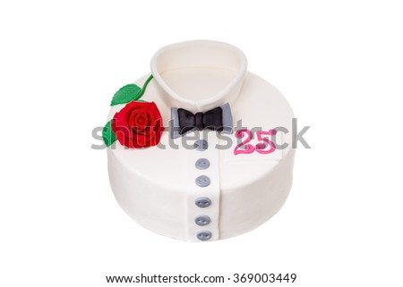 Perfect birthday gift to man. A cake in the shape of a shirt. - stock photo
