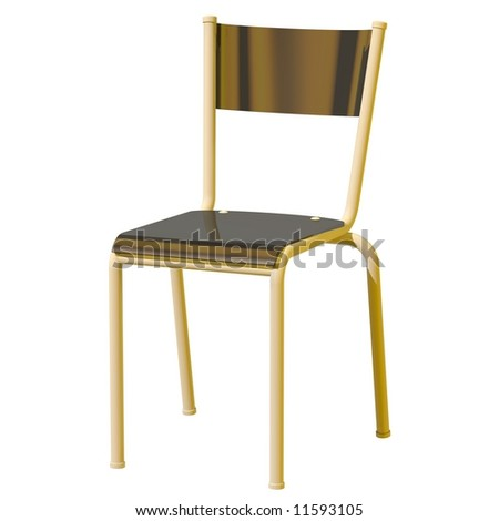 Perfect black plastic chair isolated on white - stock photo