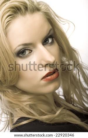 perfect blond. studio shot. - stock photo