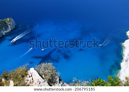 Perfect blue sea level near the Navagio Beach in Zakynthos Island - stock photo