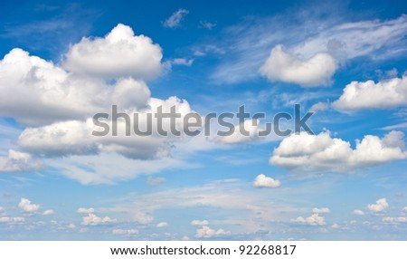 perfect blue sky with white clouds - stock photo