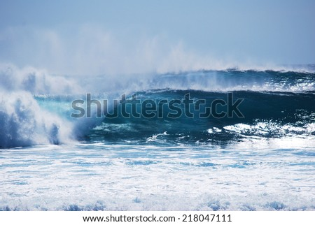 perfect blue waves - stock photo