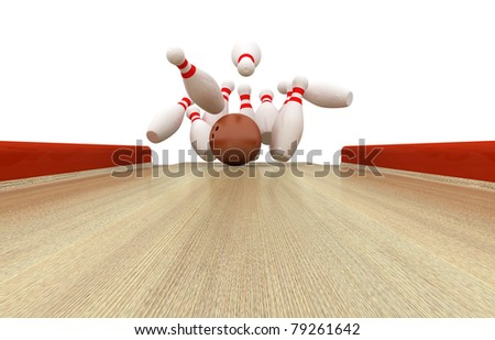 Perfect Bowling Strike - 3d illustration - stock photo