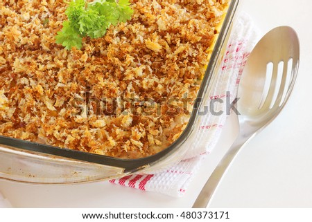Perfect bread crust casserole topping