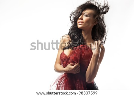 Perfect brunette beauty isolated on white - stock photo