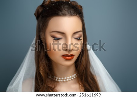 Perfect brunette Bride. Dreams. Desire. Beautiful, pretty woman with white veil, professional photo, portrait, photo model face, red lips, closed eyes, enjoyment, delight, pleasure. Lady girl female - stock photo