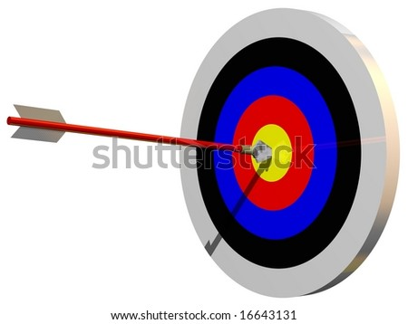 Perfect bullseye isolated on white - stock photo