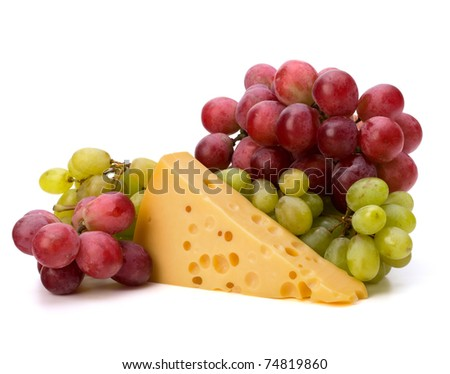 Perfect bunch of grapes and cheese isolated on white background - stock photo