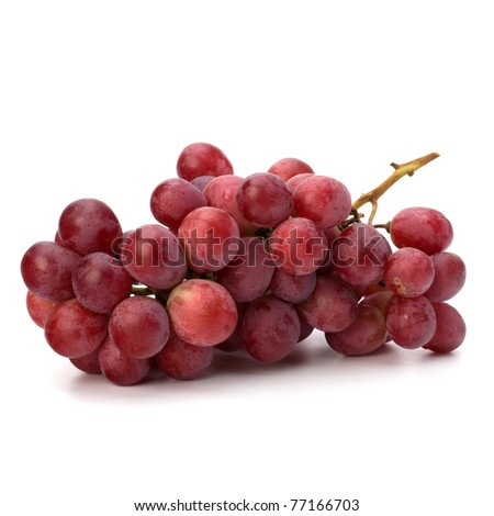Perfect bunch of red grapes isolated on white background