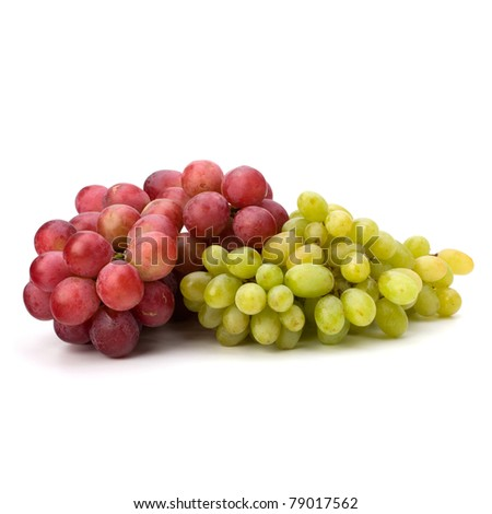Perfect bunch of white and red grapes isolated on white background - stock photo