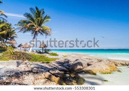 Perfect Caribbean beach in Tulum, Mexico