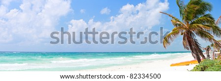 Perfect Caribbean beach in Tulum Mexico - stock photo