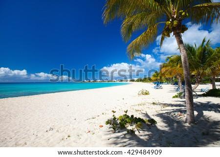 Perfect Caribbean beach on Anguilla island - stock photo