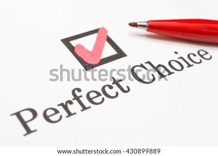 Perfect Choice check boxes - stock photo