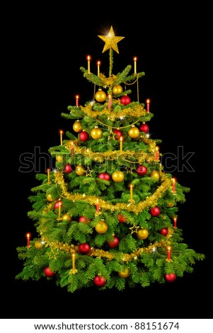 Perfect Christmas tree with shiny ornaments and candles isolated on black - stock photo