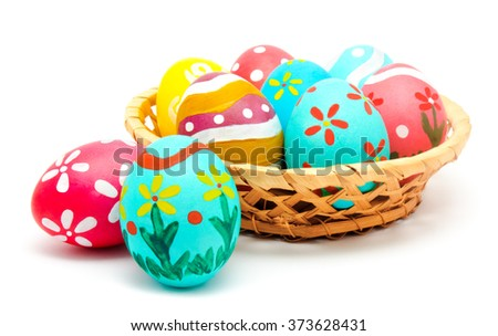Perfect colorful handmade easter eggs in the basket isolated on a white - stock photo