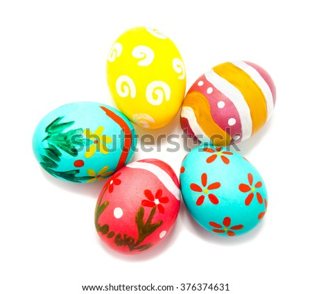 Perfect colorful handmade easter eggs isolated on a white - stock photo