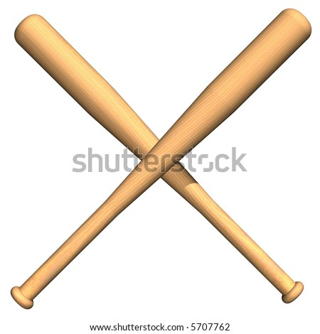 Perfect crossed baseball bats isolated on white - stock photo