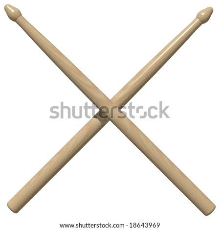 Perfect crossed drum sticks isolated on white - stock photo