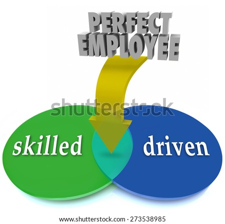 Perfect Employee words on an arrow pointing to the overlapped area in a venn diagram of circles marked Skilled and Driven to illustrate the best workers, staff or personnel - stock photo