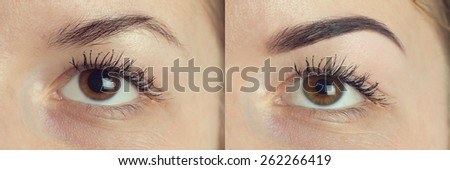 Perfect Eyebrows Before After. Two photos of eyes, eyebrows before & after correction. care and review of the eyes, light brown coloring, natural, perfect shape, procedure. Care, thin out, pull out. - stock photo