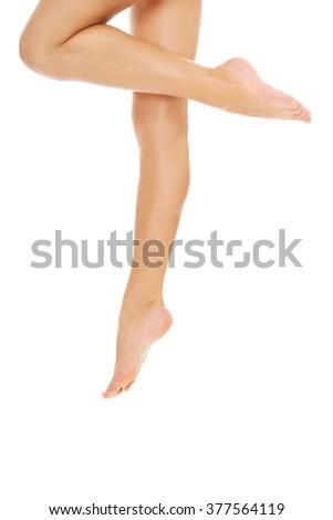 Perfect female legs. - stock photo