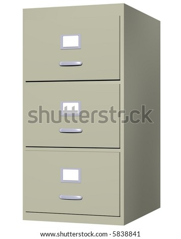 Perfect filing cabinet isolated on white - stock photo