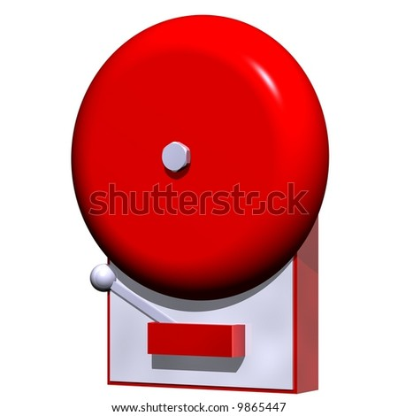 Perfect fire alarm isolated on white - stock photo